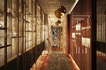 Creation of a 3D perspective of the interior of a luxurious watch store.