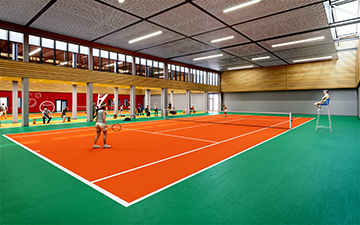 3D interior perspective of a tennis court - Architecture Contest