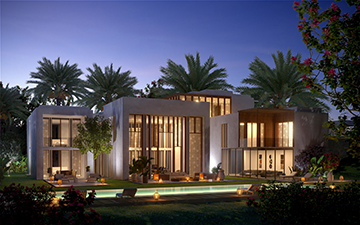 Exterior of a villa in Morocco 3D overview