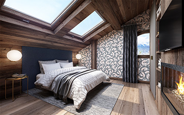 3D image of a bedroom in a luxury chalet