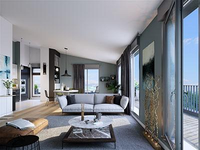 Représentation d'un appartement neuf à Lyon