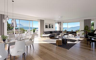 Image de synthèse 3D d'un appartement avec vue sur la mer