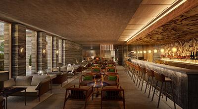 Perspective 3D d'un bar lounge de luxe