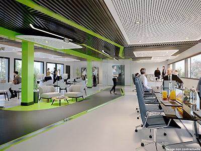 Rendu 3D d'un open space de bureaux moderne