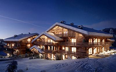Infographie 3D d'un chalet, dans la montagne, en hiver et de nuit.