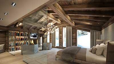 Photo en 3D d'une chambre de luxe d'un chalet à Combloux en Haute Savoie