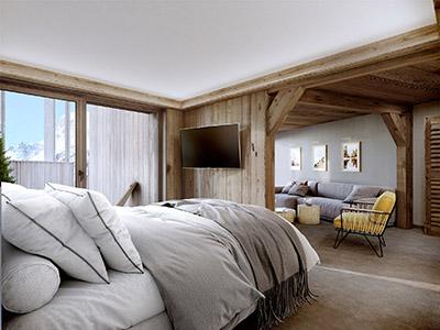 Image 3D d'une chambre d'hôtel dans un chalet à la montagne
