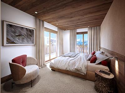 Graphisme 3D d'une chambre dans un chalet de montagne