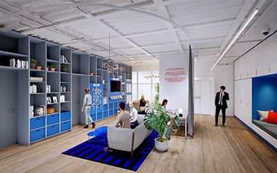 Représentation 3D d'un espace de repos et de travail design en entreprise