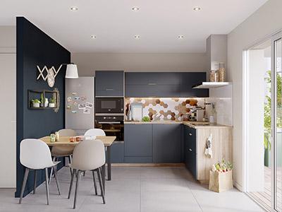 Image 3D d'une cuisine ouverte moderne noire et en bois