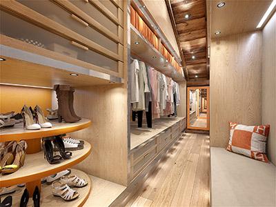 Visualisation 3D d'un dressing de luxe dans un chalet