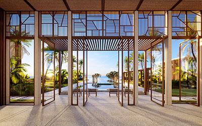 Image 3D des portes d'un hôtel luxueux sur la plage