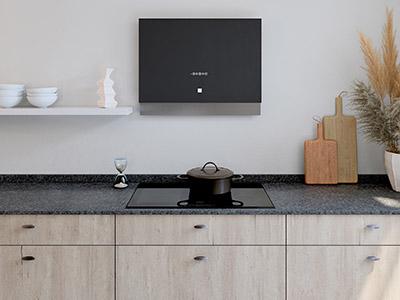 Image 3D du plan de travail d'une cuisine moderne avec plaques de cuisson et hotte