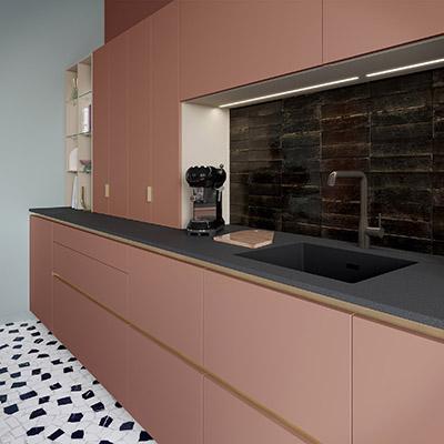 Création 3D du coin évier et rangements d'une cuisine moderne