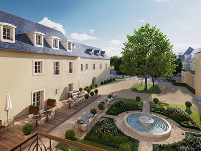 Représentation 3D des jardins et extérieurs d'un château