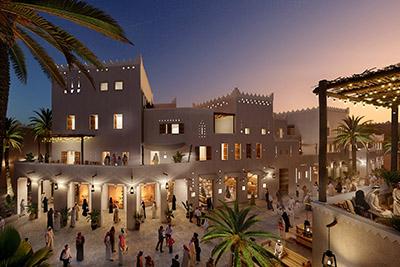 Graphismes 3D d'une villa de luxe au Maroc dans une rue animée