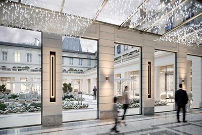 Infographie 3D d'une galerie luxueuse et sa cour intérieure à Paris