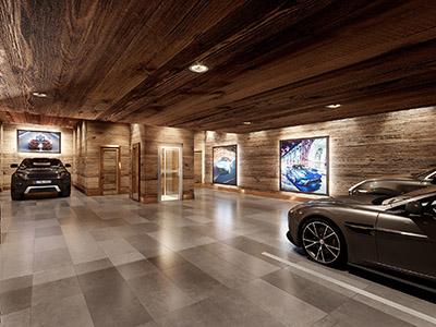 Rendu photoréaliste 3D d'un garage de luxe avec des voitures dans un chalet