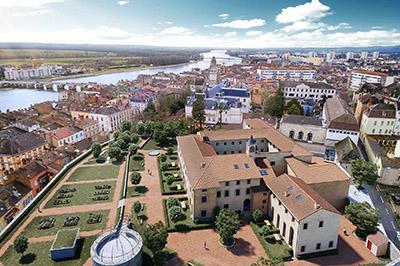 Photo montage 3D d'un couvent dans la ville en vue aérienne