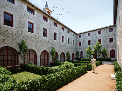 Image 3D du patio d'un couvent rénové avec des jardins individuels