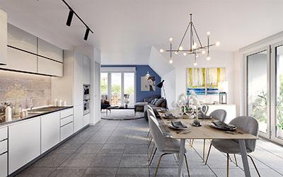Image 3D des intérieurs d'un appartement neuf et moderne