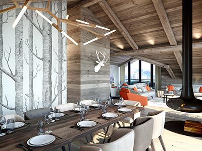 Salle à manger moderne et luxueuse réalisée en 3D