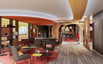Notre studio de création numérique en 3D réalise vos photos rendus de salon lounge 3D.