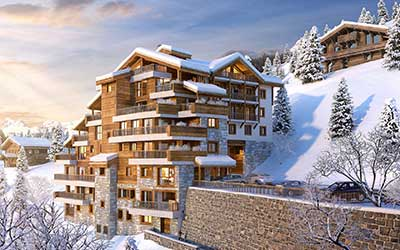 Real estate project of a luxurious chalet represented by a 3D perspective of the place.