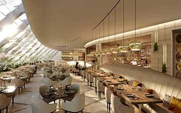 Photo d'une perspective d'un restaurant en 3D réalisée par Valentin Studio.