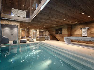 Représentation 3D photoréaliste d'une piscine intérieure dans un chalet luxueux