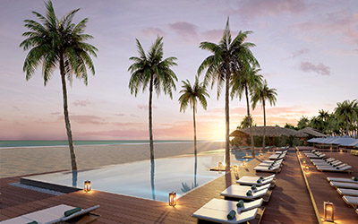 Piscine sur la plage au soleil couchant réalisée par des infographistes 3D