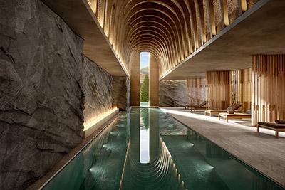 Image 3D d'une piscine intérieure de luxe à Zermatt