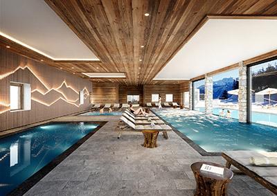 Image 3D d'un spa et d'une piscine à l'intérieur d'un chalet, avec des personnages