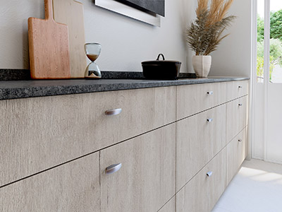 Image 3D des placards d'une cuisine moderne en bois