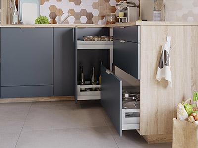 Graphisme 3D des rangements ouverts d'une cuisine fonctionnelle