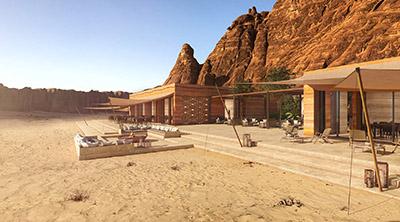 Image 3D de villas de luxe dans le désert du Maroc