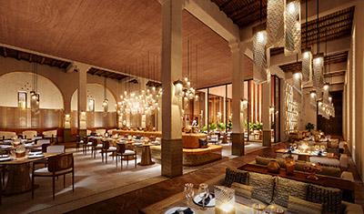 Image 3D d'un restaurant luxueux au style oriental