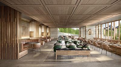 Archviz 3D d'un restaurant de luxe situé en Suisse