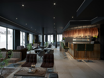 Visualisation 3D d'un bar restaurant haut de gamme