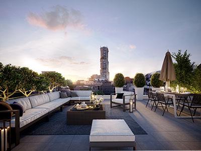 Image 3D d'une terrasse sur un toit à Clichy