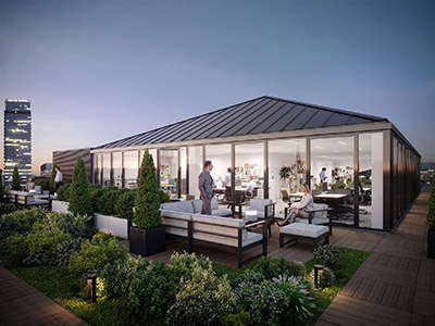 Visualisation 3D du rooftop d'une entreprise parisienne