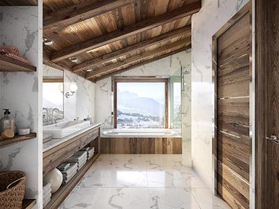 Graphismes 3D d'une salle de bain moderne et luxueuse dans un chalet