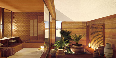 Rendu 3D d'une salle de bain de luxe dans une villa Marocaine