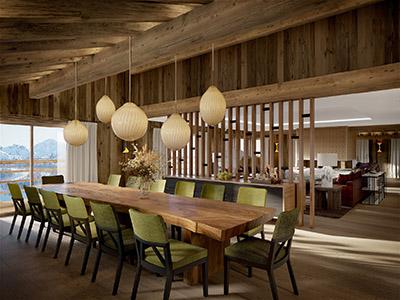 Rendu 3D d'une salle à manger moderne dans un chalet