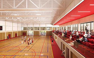Image 3D d'un gymnase omnisports dans lequel se déroule un match de basket