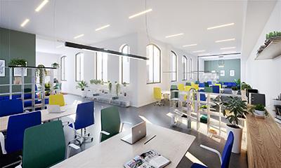 Création 3D d'un open-space moderne et design en entreprise