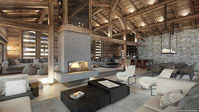 3D Photograph of a living room in Megève in a luxurious chalet