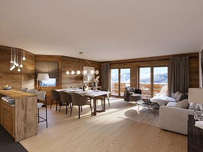 Représentation 3D d'un appartement de montagne dans un chalet