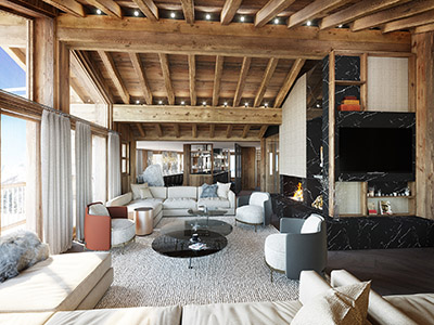 Représentation 3D d'un salon dans un appartement de montagne