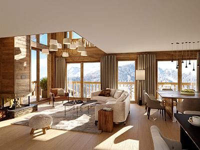 Image 3D d'un appartement moderne et rustique dans un chalet de montagne